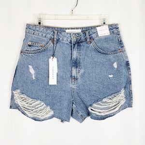 TOPSHOP distressed high waisted denim shorts